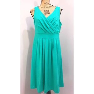 Lands End Turquoise Stretch Pleated Sundress